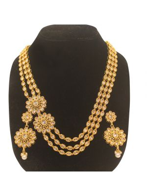 Jaipuri gold pleated on Indian Silver Necklace