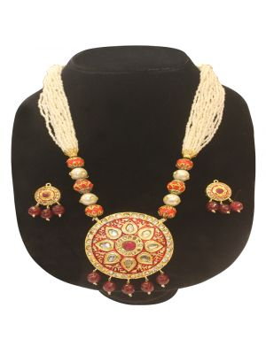 Maroon color Stone &  made pearl Jaipuri gold pleated necklace