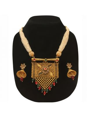 Square Shape man made Stone & pearl Jaipuri gold pleated necklace