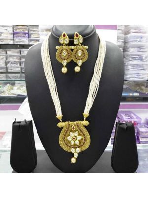 Jaipuri gold pleated pearl pendant
