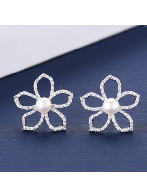 Elegant Cubic Zirconia Bridal Silver Stud Earrings