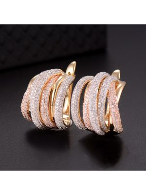 Twist Braided Colorful Zirconia Clasp Earring