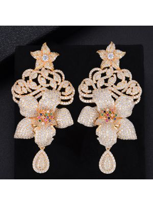 Golden Cubic Zirconia Long Drop Earrings