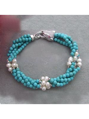 Turquoise with white pearl bracelet