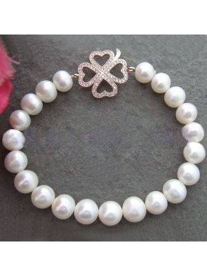 White cultured pearl bracelets