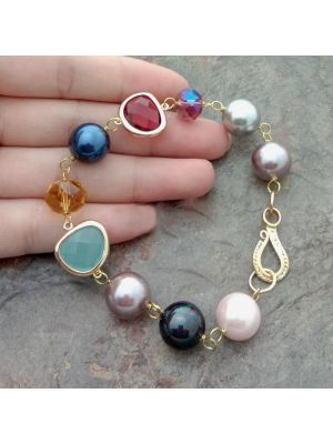 Multi Color Sea Shell Pearl Crystal Bracelet