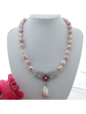 Keshi Purple Baroque Pearl CZ Pendant Necklace
