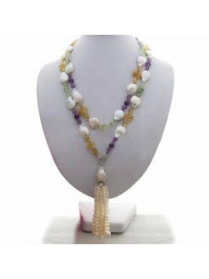 White coin white round pearl and amethyst bead necklace