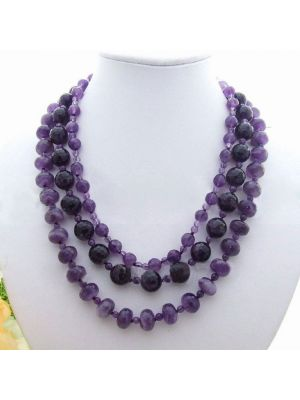 Purple color round and faceted amethyst necklace