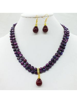 Purple color Pearl necklace