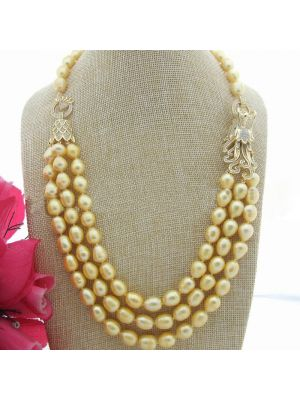 Golden color pearl and white Dragon connector necklace