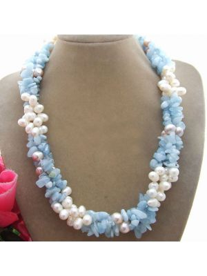 White and purple round pearl necklace