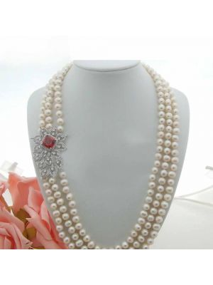 White color Pearl & CZ Connector Necklace