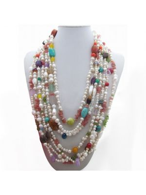 Multi Stone and Crystal Necklace