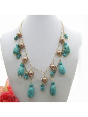 Sea Shell Pearl and Stone Necklace