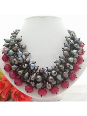 Black Pearl Crystal and Stone Necklace