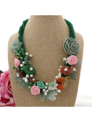 Green Flower Crystal Pearl CZ Necklace
