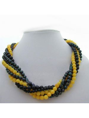 Multi color pearl and stone necklace