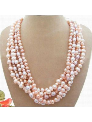 Pink round and fancy pearl and purple rice pearl with white silk pouch necklace