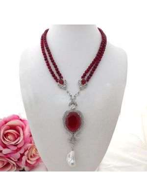 Red faceted round agate white keshi pearl & cz Pave pendant necklace
