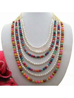 White round and multi color turquoise necklace
