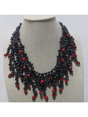 Black Pearl Pink Coral Necklace