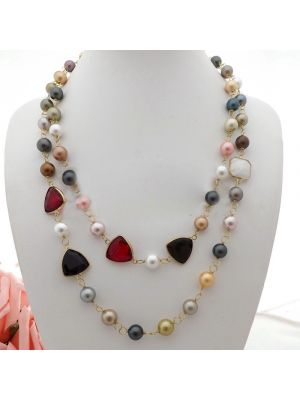 Sea Shell Pearl Crystal Necklace