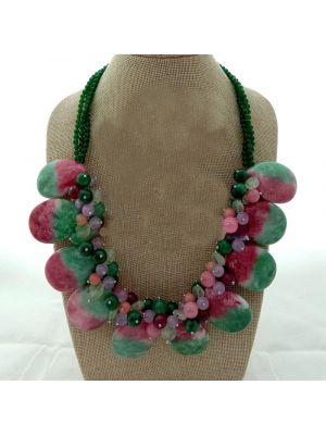Mixed Color Stone Crystal Necklace