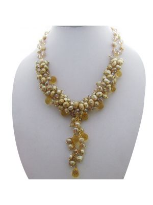 Champagne Baroque Pearl & Crystal Necklace