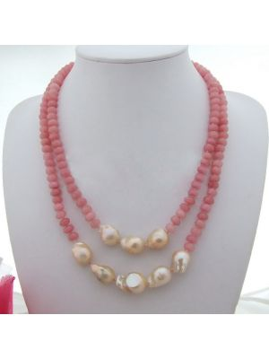 Pink Keshi Pearl Pink Stone Necklace