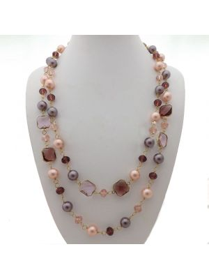 Multi Color Sea Shell Pearl Crystal Long Necklace