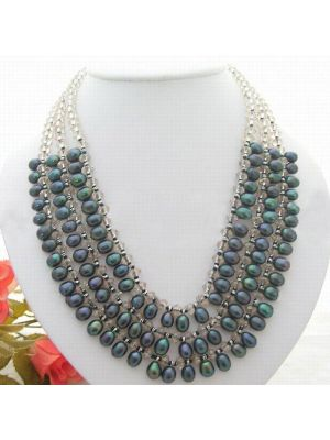 Cultured black rice pearl rondelle faceted crystal necklace