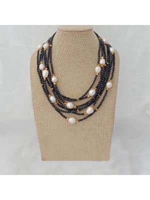 White Pearl & Onyx Necklace
