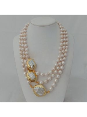 White Golden Plated Keshi Pearl Necklace