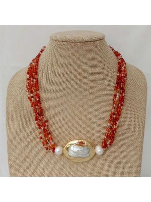 Red & Yellow color Golden Plated Keshi Pearl Necklace