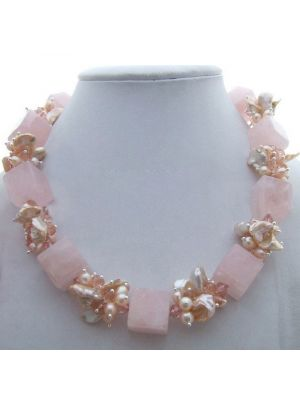 Pearl & Rose Crystal  Necklace