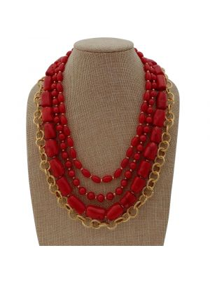 Red Coral Golden Plated Chain Necklace