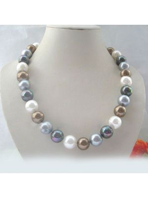 Multi color perfect round south sea shell necklace.